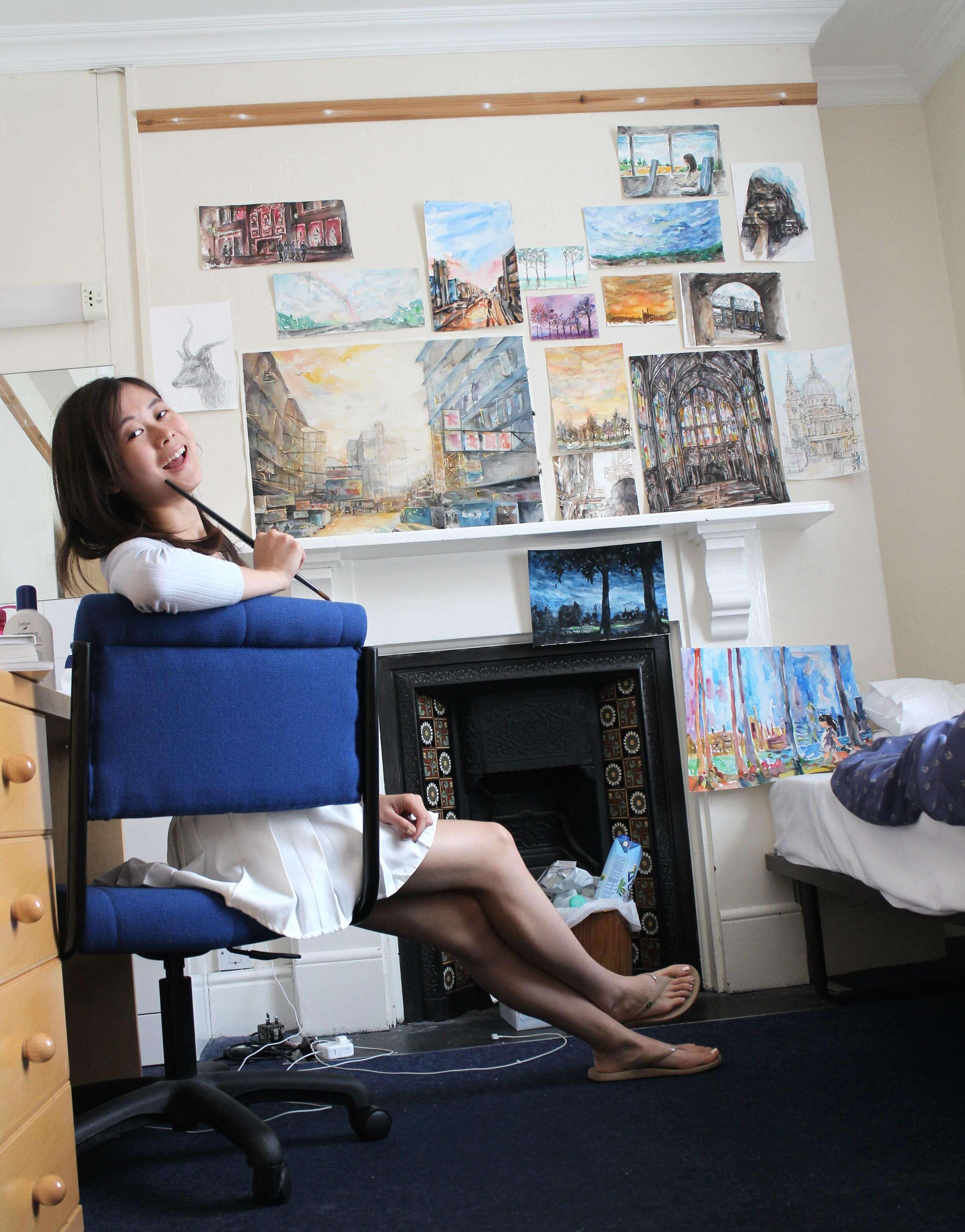 Elaine Chiu , turns her dorm into her own art studio