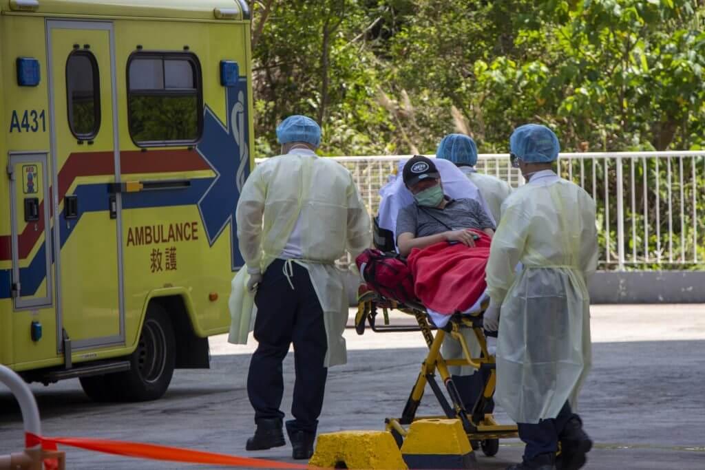 An emotional  resident is sent to the hospital, Tsuen Wan District Councilor  Chiu Yan-loy said.