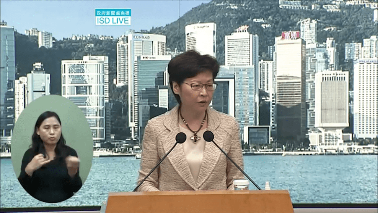 Hong Kong leader Carrie Lam Cheng Yuet-ngor says the government has not yet finalized any mandatory vaccination policy for helpers. Photo: Information Services Department